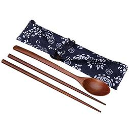Funnytoday365 Outad Portable Wooden Chopsticks Spoon Cutlery