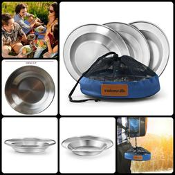 Outdoor Camping Hiking Stainless Steel Plate Dinnerware Set