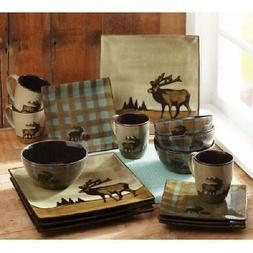 Better Homes & Gardens Roaming Elk Square Dinnerware, Brown,