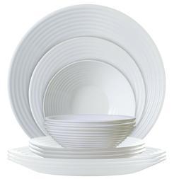 Luminarc P0816 12 Piece Harena Dinnerware Set, 1, White