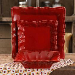 The Pioneer Woman Paige Square Dinnerware Set 12-Piece Red n