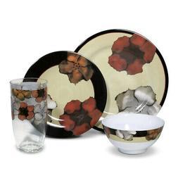 Pfaltzgraff Painted Poppies Melamine Dinnerware Set