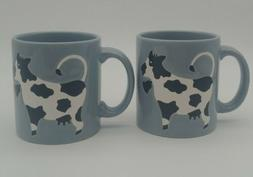 Pair Vtg Waechtersbach Black & White COW Coffee Mug Gray Wes