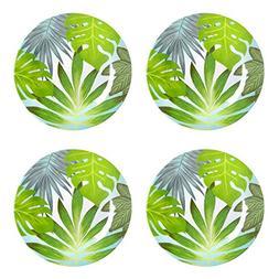 Nantucket Home Palm Leaf Melamine Dinner Plates, Set of 4