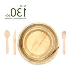 minliving Palm Leaf Round Plates with Cutlery Set of 130 pie