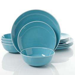 Gibson Home Pandora 12 Piece Dinnerware Set, Blue