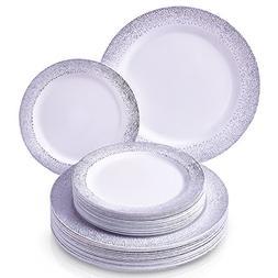 DISPOSABLE PLASTIC PLATES   20 servings    Ocean Mist - Silv