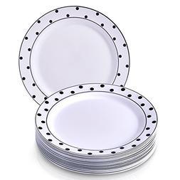 "DISPOSABLE PLASTIC DINNER PLATES 10.25"" Dots Black  20 pc"