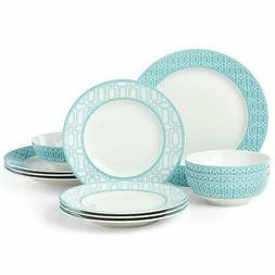 Lenox ~ PARTY LINKS TURQUOISE / TEAL  12 Piece DINNERWARE Se