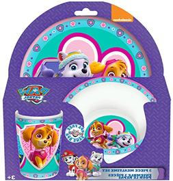 Paw Patrol Girl 3-Piece Mealtime Set with Plate, Bowl and Tu