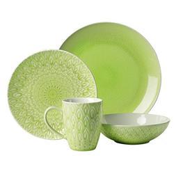 Euro Ceramica 16-Piece Peacock Dinnerware Set, Green