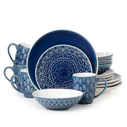 Euro Ceramica Peacock Collection 16 Piece Ceramic Reactive C