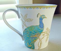 222 Fifth Peacock Garden Coffee Mugs, Set of 4