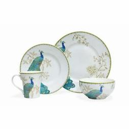 222 Fifth Peacock Garden 16 Piece Porcelain Dinnerware Set w