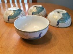 222 Fifth Peacock Garden Soup, Cereal Bowls. Set Of 4. Beaut