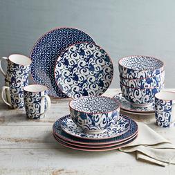 Better Homes and Gardens Piers Blue Mix Match 16 Piece Dinne