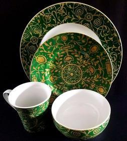 222 Fifth Pilar Emerald Green 16pc Dinnerware Set Serving Fo