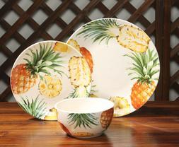 Mainstays Pineapple Print Ceramic 12-Piece Dinnerware Set