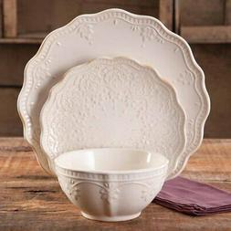 Pioneer Woman Lace 12-Piece Dinnerware Set, New Plates Bowls