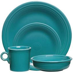 4-Piece Place Setting in Turquoise Durable Ceramic with a Br