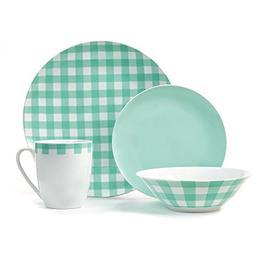 Placemate Plaid Porcelain Dinner Set Mint 16-Piece