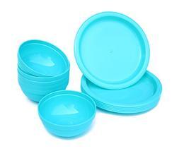 12 Pieces Plastic Bowls and Plates Set for Parties/Picnics,R