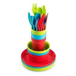 Plastic Dinnerware Set of 6 By Plaskidy- 36-Piece Kids Dinne