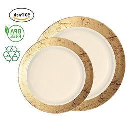 Party Joy 50-Piece Plastic Dinnerware Set   Marble Collectio