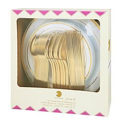 60 Pieces Plastic Gold Plates with Gold Plastic Silverware,P
