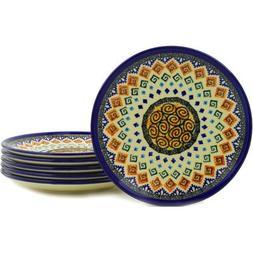 Polish Pottery Set of 6 Plates 7-inch Aztec Swirls UNIKAT