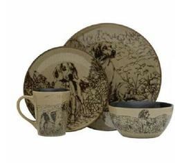 16 PC Dog Dinnerware Dish Set Plates Bowls Mugs Country Kitc