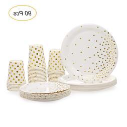 Plates <font><b>Set</b></font> of 90pcs Disposable Drinkware