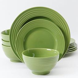 Gibson Home Plaza Cafe 12 Piece Dinnerware Set, Green