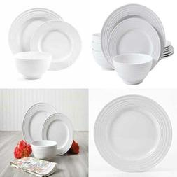 Gibson Home 12 Piece Plaza Cafe Round Dinnerware Set with Em