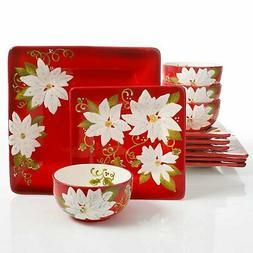 Laurie Gates Pleasant Poinsettia 12 Piece Dinnerware Set, Re