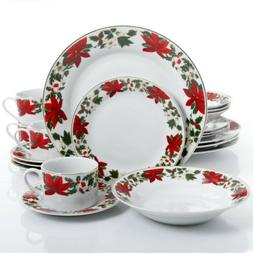 Gibson Home Poinsettia Holiday 20 Piece Dinnerware Set -
