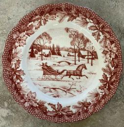 222 Fifth Poinsettia Toile Dinner Plates Set Of 4 Christmas