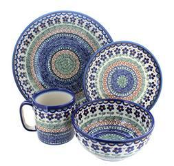 Polish Pottery Aztec Flower 4 Piece Dinner Set