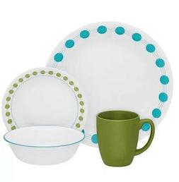 Polka Dot 32 Piece Dinnerware Set Dining Dishes Serves 8 Pla
