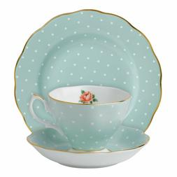 ROYAL ALBERT POLKA ROSE VINTAGE 3-PIECE PLACE SETTING NEW IN