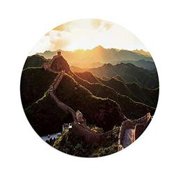 iPrint Polyester Round Tablecloth,Great Wall of China,Histor