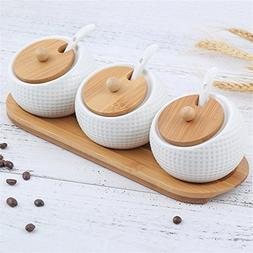 Porcelain Condiment Container Spice Jar with Lids - Bamboo C