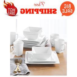 Porcelain Dinnerware Set 16-Piece Square White Dinner Plates