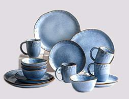 Pangu 16-Piece Dinnerware Sets, AQUAMARINE, Handmade Random