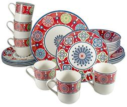 Tudor 24-Piece Premium Quality Round Porcelain Dinnerware Se