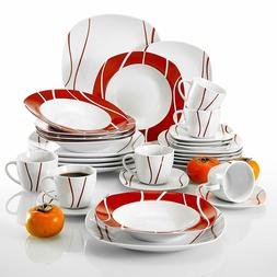 Porcelain Dinnerware Set for 6 Person, Ceramic Dishware with