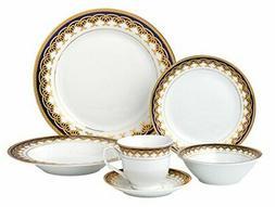 Lorren Home Trends 24 Piece Porcelain Dinnerware Set Iris, B