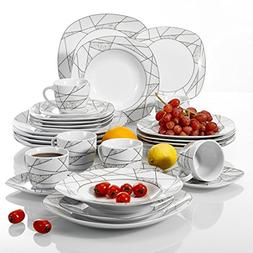 VEWEET 30-Piece Porcelain Dinnerware Set Ivory White Irregul