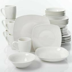 Porcelain Dinnerware Set Square Dinner Plates Dish Service F