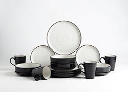 Pangu 16-Piece Porcelain Dinnerware Sets, WESTERN, Black and